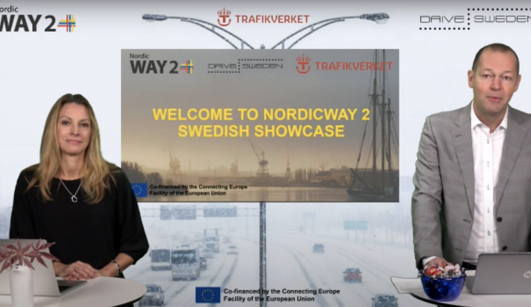 Sofie Vennersten and Magnus Hjälmdahl at the NordicWay 2 Pilot Showcase.