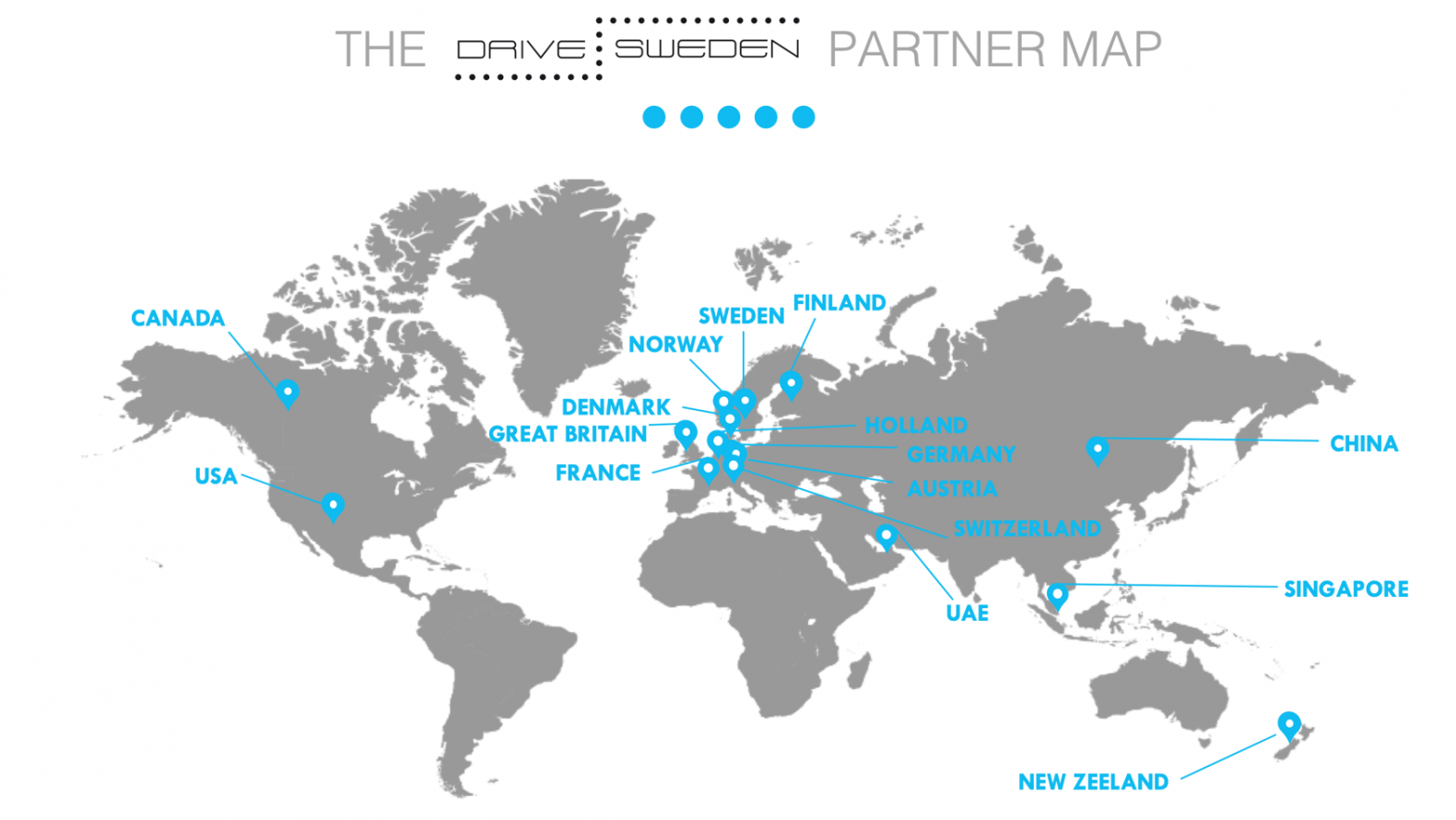 A map of where Drive Sweden's partners are located around the world.
