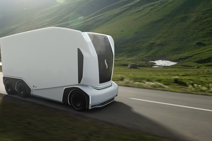 An autonomous truck from Einride on a public road. Photo: Einride.